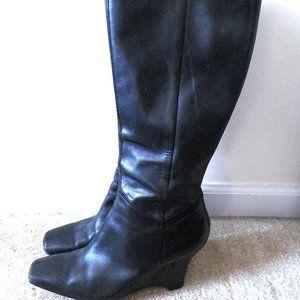 Anne Kleine black leather knee boots sz.10